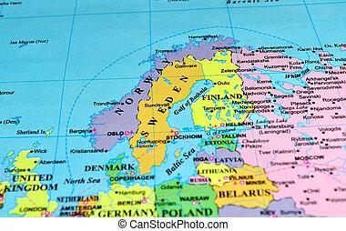 península, mapa, escandinavo