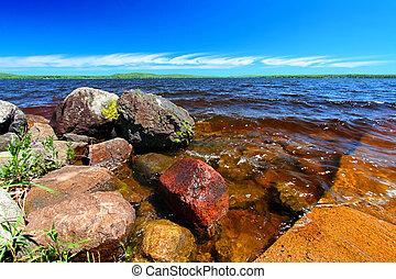 península, superior, michigan, lago, gogebic