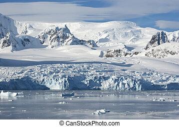 península, verano, soleado, costa, afternoon., occidental, glaciares, antártico