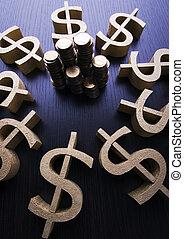 peníze, bystrý, finanční machinace, nasycený, pojem