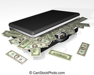 peníze, kufr