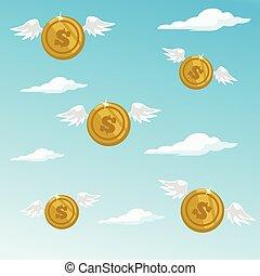 peníze, létat, away., vektor, byt, karikatura, ilustrace