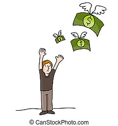 peníze, prasknout stranou
