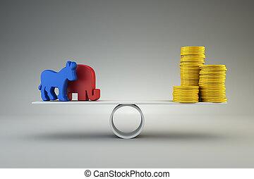 peníze, proti, politika