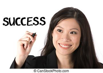 pen., женщина, азиатский, бизнес, держа