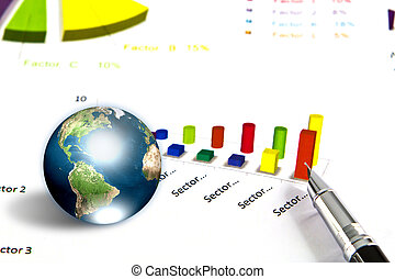 Pen and business graph with earth (Elements of this image furnished by NASA)