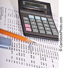 Pen and calculator. Macro shoot for business illustration