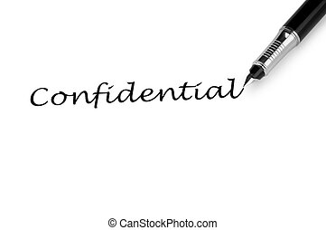 Pen and confidential message on white