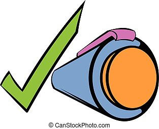 Pen and green checkmark icon cartoon