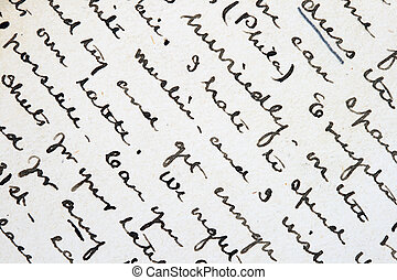 pen and ink writing - background detail from an old pen and...
