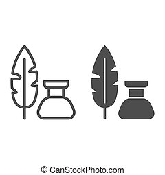 Pen and inkwell line and solid icon, Back to school concept...