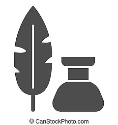 Pen and inkwell solid icon, Back to school concept, Inkstand...