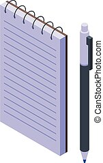 Pen and notebook icon, isometric style