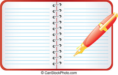 Pen and notebook. - Office accessories. Vector art in EPS...