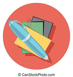 pen and papers flat icon in circle