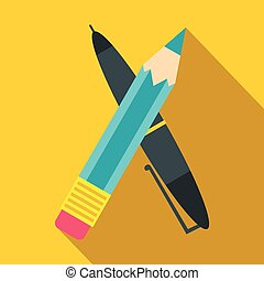 Pen and pencil icon, flat style
