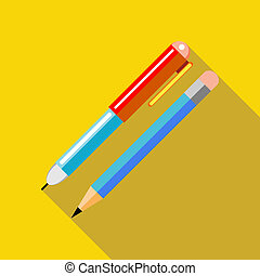 Pen and pencil icon in flat style