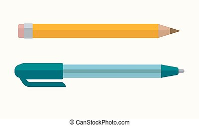 Pen and pencil vector icons - Pen and pencil with eraser tip...