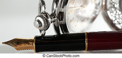 Pen and pocket watch - Beautiful fountain pen and pocket...