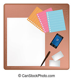 Pen and Smartphone on A Blank Page with Envelope