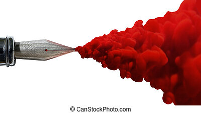 A top view of the metal nib of an old fountain pen jetting out a stream of thick red ink on an isolated white background