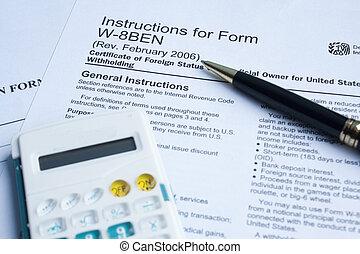 pen, belasting, rekenmachine, vorm