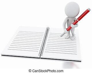 pen., blanc, 3d, bloc-notes, gens