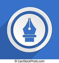 pen blue flat design modern icon
