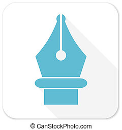 pen blue flat icon