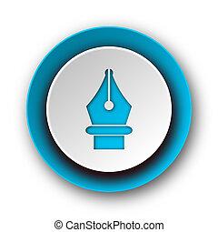 pen blue modern web icon on white background