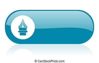 pen blue web glossy icon