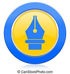pen blue yellow icon
