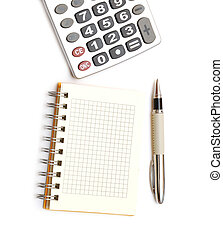 Pen, calculator and notepad