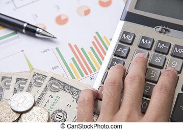 pen, calculator, money, graph concept for business finance.