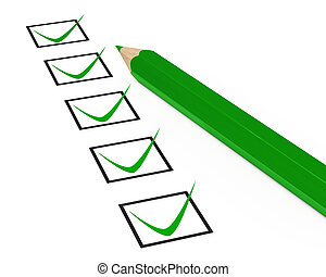 green check box tick on white background