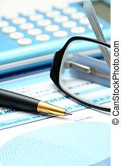pen, concept, diagram., zakelijk, rekenmachine