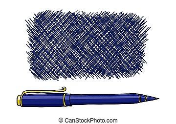 Crosshatch ink frame. Stationery hand drawn vector doodle illustration. Ballpoint pen border isolated over white.