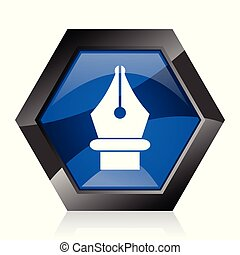 Pen dark blue glossy hexagon geometric diamond vector web icon with reflection on white background. Modern design hexagonal internet button.