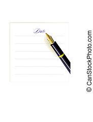 pen, date