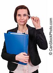 pen, documenten, houden, meisje, hand