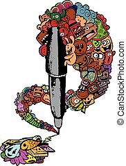 pen doodle illustration - vector illustration of pen doodle