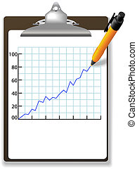 Pen drawing financial growth chart clipboard
