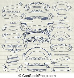 Pen Drawing Floral Design Elements, Ribbons, Banners