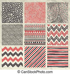 Set of Nine Red and Grey Abstract Artistic Hand Sketched Geometric Seamless Background Patterns on Crumpled Paper Texture. Pen Drawing Vector Illustration. Pattern Swatches.