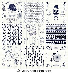 Pen Drawing Seamless Textures - Set of Nine Pen Drawing...