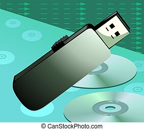 Pen drive - Illustration of pen drive in green background