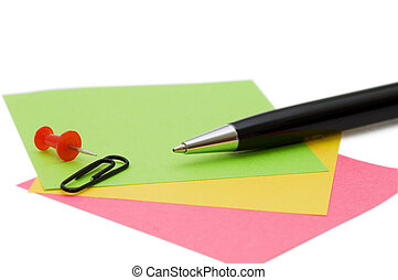 pen en, aantekening, vrijstaand, op wit, achtergrond