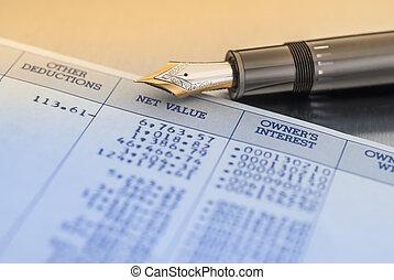 pen en, rekening, getallen, data