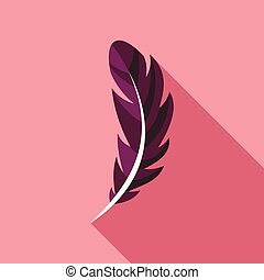 Pen feather icon, flat style