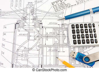 pen, pencil, flash memory and calculator on drafting